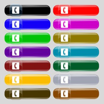 handset icon sign. Set from fourteen multi-colored glass buttons with place for text. Vector illustration