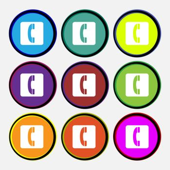 handset icon sign. Nine multi colored round buttons. Vector illustration