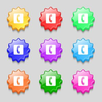 handset icon sign. symbol on nine wavy colourful buttons. Vector illustration