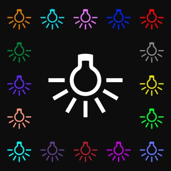 light bulb icon sign. Lots of colorful symbols for your design. Vector illustration