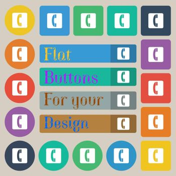 handset icon sign. Set of twenty colored flat, round, square and rectangular buttons. Vector illustration