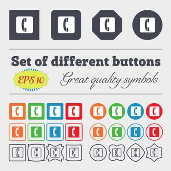 handset icon sign. Big set of colorful, diverse, high-quality buttons. Vector illustration