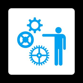 Project icon from Commerce Buttons OverColor Set. Vector style is blue and white colors, flat square rounded button, black background.