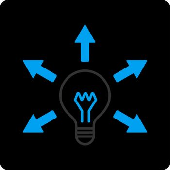 Idea icon. Vector style is bicolor flat symbol, gray and light blue colors, black rounded square button, white background.