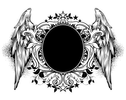 ornamental black shield decorated with wings and floral elements