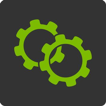 Gears icon. This flat rounded square button uses eco green and gray colors and isolated on a white background.