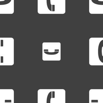 handset icon sign. Seamless pattern on a gray background. Vector illustration
