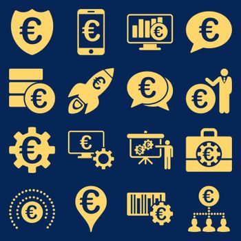 Euro banking business and service tools icons. These flat icons use yellow. Images are isolated on a blue background. Angles are rounded.