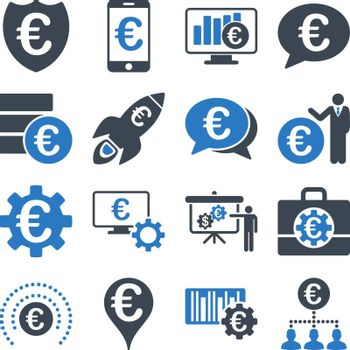 Euro banking business and service tools icons. These flat bicolor icons use smooth blue. Images are isolated on a white background. Angles are rounded.