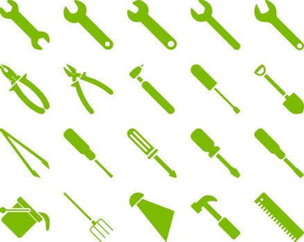 Equipment and Tools Icons. Vector set style is flat images, eco green color, isolated on a white background.