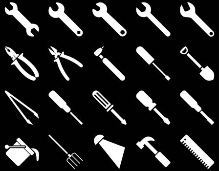 Equipment and Tools Icons. Vector set style is flat images, white color, isolated on a black background.