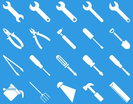 Equipment and Tools Icons. Vector set style is flat images, white color, isolated on a blue background.