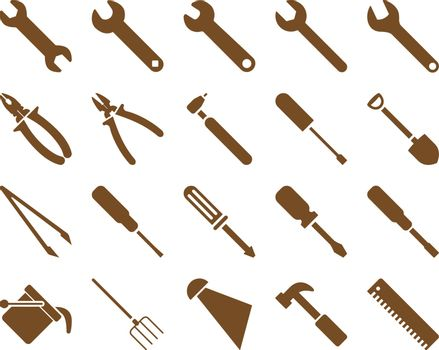 Equipment and Tools Icons. Vector set style is flat images, brown color, isolated on a white background.