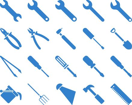 Equipment and Tools Icons. Vector set style is flat images, cobalt color, isolated on a white background.