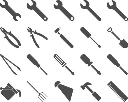 Equipment and Tools Icons. Vector set style is flat images, gray color, isolated on a white background.
