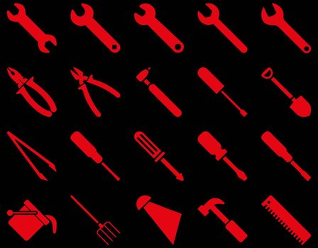 Equipment and Tools Icons. Vector set style is flat images, red color, isolated on a black background.