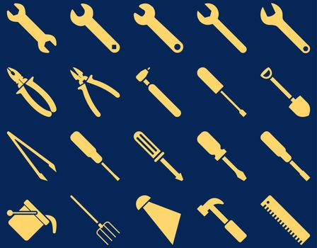 Equipment and Tools Icons. Vector set style is flat images, yellow color, isolated on a blue background.