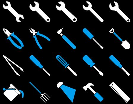 Equipment and Tools Icons. Vector set style is bicolor flat images, blue and white colors, isolated on a black background.