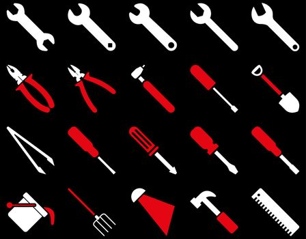 Equipment and Tools Icons. Vector set style is bicolor flat images, red and white colors, isolated on a black background.