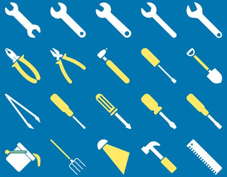 Equipment and Tools Icons. Vector set style is bicolor flat images, yellow and white colors, isolated on a blue background.