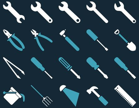 Equipment and Tools Icons. Vector set style is bicolor flat images, blue and white colors, isolated on a dark blue background.