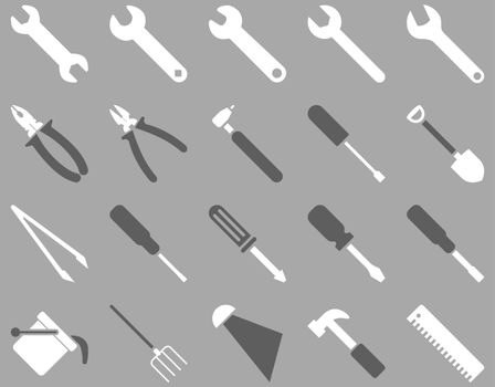 Equipment and Tools Icons. Vector set style is bicolor flat images, dark gray and white colors, isolated on a silver background.