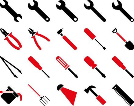 Equipment and Tools Icons. Vector set style is bicolor flat images, intensive red and black colors, isolated on a white background.