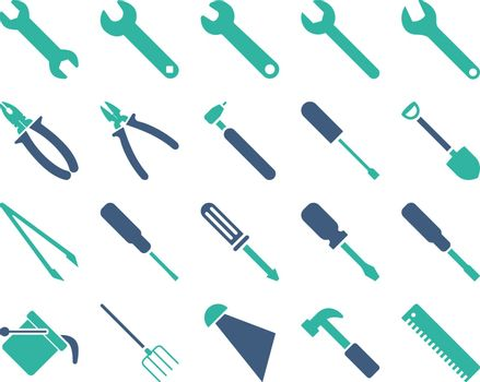 Equipment and Tools Icons. Vector set style is bicolor flat images, cobalt and cyan colors, isolated on a white background.