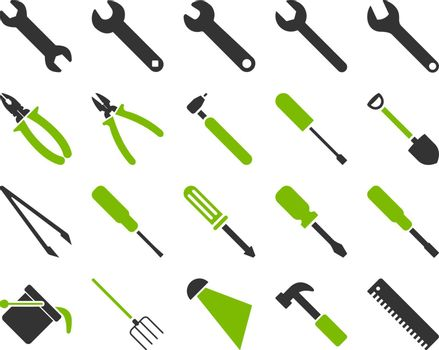 Equipment and Tools Icons. Vector set style is bicolor flat images, eco green and gray colors, isolated on a white background.
