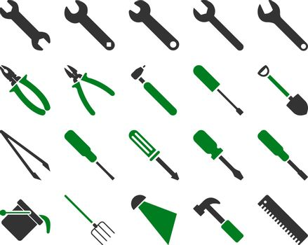 Equipment and Tools Icons. Vector set style is bicolor flat images, green and gray colors, isolated on a white background.