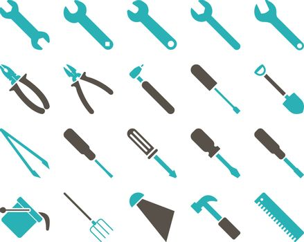 Equipment and Tools Icons. Vector set style is bicolor flat images, grey and cyan colors, isolated on a white background.