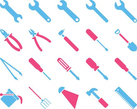Equipment and Tools Icons. Vector set style is bicolor flat images, pink and blue colors, isolated on a white background.
