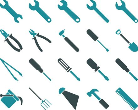 Equipment and Tools Icons. Vector set style is bicolor flat images, soft blue colors, isolated on a white background.