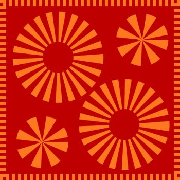 Graceful orange circle petals pattern. A neutral background