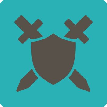 Guard icon. Vector style is grey and cyan colors, flat square rounded button, white background.