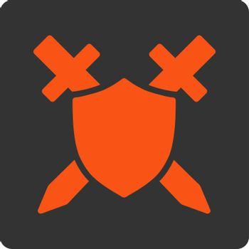 Guard icon. Vector style is orange and gray colors, flat square rounded button, white background.