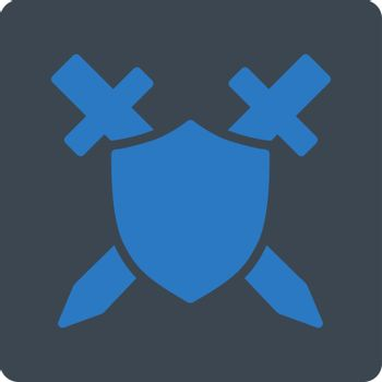 Guard icon. Vector style is smooth blue colors, flat square rounded button, white background.