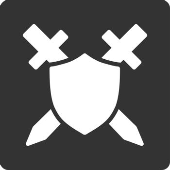 Guard icon. Vector style is white and gray colors, flat square rounded button, white background.