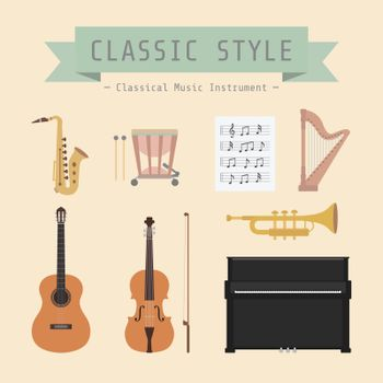 set of classiical musical instrument and sign, flat style