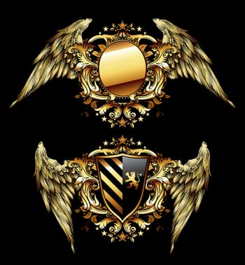 Two shields on a black background decorated with golden wings
