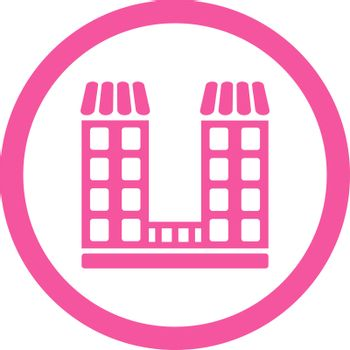 Company vector icon. This flat rounded symbol uses pink color and isolated on a white background.