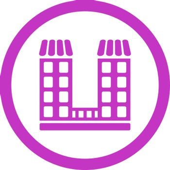 Company vector icon. This flat rounded symbol uses violet color and isolated on a white background.