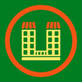 Company vector icon. This flat rounded symbol uses orange and yellow colors and isolated on a green background.