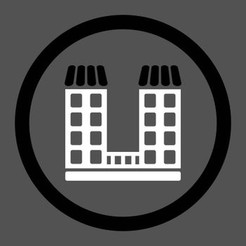 Company vector icon. This flat rounded symbol uses black and white colors and isolated on a gray background.