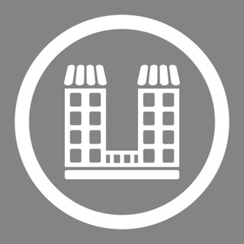 Company vector icon. This flat rounded symbol uses white color and isolated on a gray background.