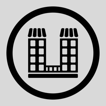 Company vector icon. This flat rounded symbol uses black color and isolated on a light gray background.