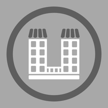 Company vector icon. This flat rounded symbol uses dark gray and white colors and isolated on a silver background.