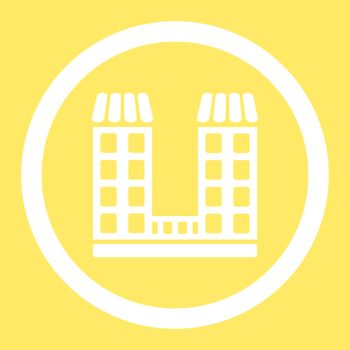 Company vector icon. This flat rounded symbol uses white color and isolated on a yellow background.