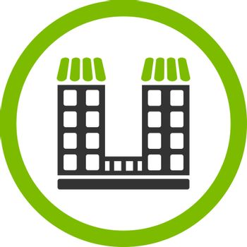 Company vector icon. This flat rounded symbol uses eco green and gray colors and isolated on a white background.