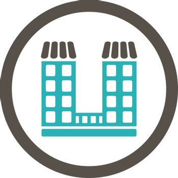 Company vector icon. This flat rounded symbol uses grey and cyan colors and isolated on a white background.